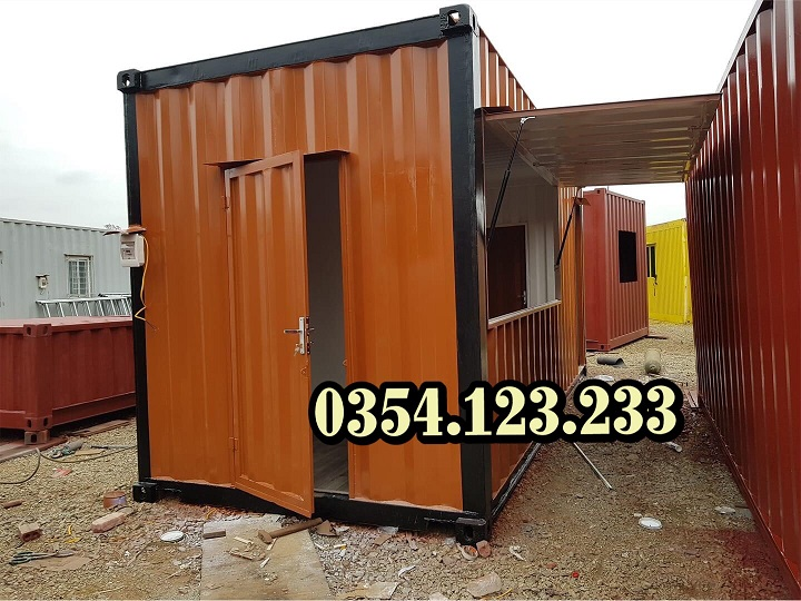 container cafe cửa lật tay hơi 20feet