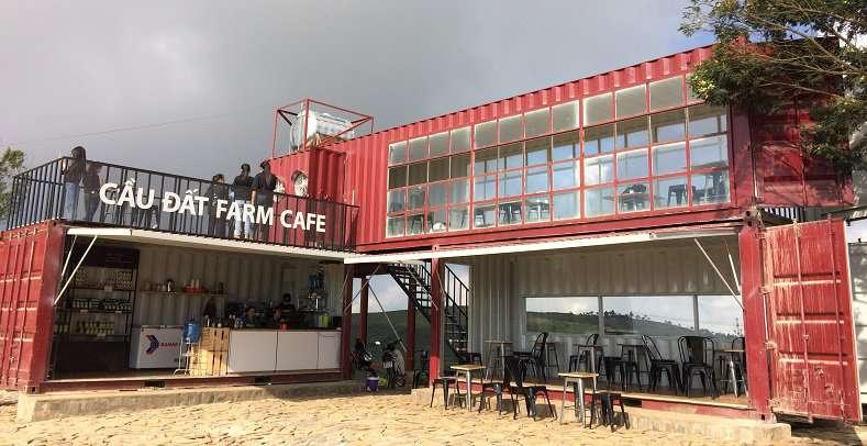 Quán Cafe Đồi Chè Cầu Đất ở Tp. Đà Lạt thiết kế từ Container